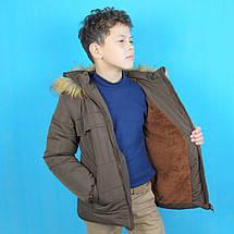 20221 Детская зимняя куртка с капюшоном для мальчика коричневая тм Одягайко рост 110 см, фото 2