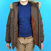 20221 Детская зимняя куртка с капюшоном для мальчика коричневая тм Одягайко рост 110 см, фото 3