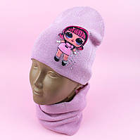 26827 Шапка с подворотом и шарф хомут: комплек демисезон LOL для девочки 3Д тм ANPA размер 50-52