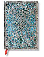Блокнот Paperblanks Серебряная Филигрань Средний в Линейку Лазурный (PB2562-7) (9781439725627)