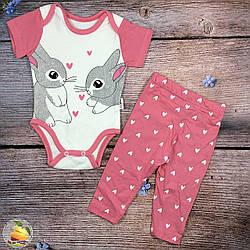 Боди с зайчиками и штанишки для малыша Размеры: 3,6,9,12 месяцев (20199-2)
