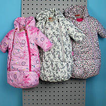 32044-2 Детский зимний конверт с капюшоном для девочки разные цвета тм Одягайко рост 68 см