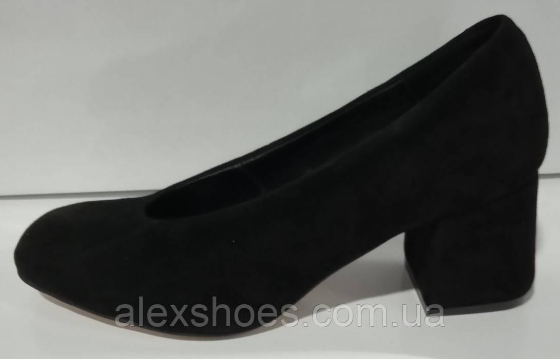 Туфли женские на устойчивом каблуке из натуральной замши от производителя модель КС2060-2