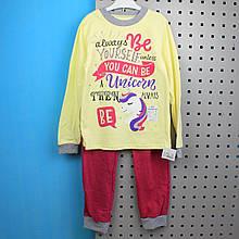 02-1042-11жел Теплая подростковая пижама Единорог желтая размер 128,134,140