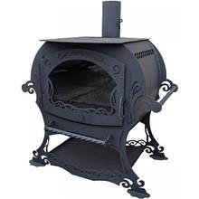 """Печь для дома длительного горения """"Ажурная"""" со стеклом каминного типа"""