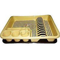 Сушка для тарелок большая одноярусная 400*480*70мм ELIF бежевая, фото 1