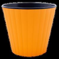 Цветочный горшок Алеана Ибис 18 Оранжевый с чёрной вставкой