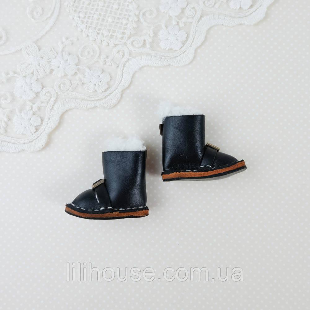 Обувь для кукол Кожаные Сапожки 35*18 мм ЧЕРНЫЕ