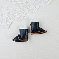 Обувь для кукол Кожаные Сапожки 35*18 мм ЧЕРНЫЕ, фото 1