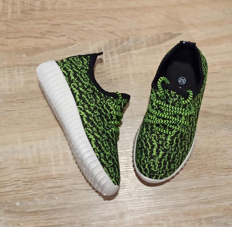 Размер 32 33  Кроссовки сетка кеды зеленые белые детские летние на шнурках