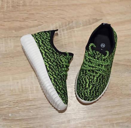 Размер 32 33  Кроссовки сетка кеды зеленые белые детские летние на шнурках, фото 2