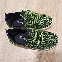 Размер 32 33  Кроссовки сетка кеды зеленые белые детские летние на шнурках, фото 3