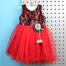 26754 Платье для девочки красное пайетки-перевертыши тм PORLAND размер 92,98,104,110