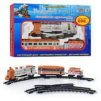 KM8040M ЖЕЛ Д 8040 (616)  Голубой вагон, муз, свет, дым, длина путей 282см, в кор-ке, 38-26-7см