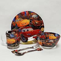 Набор детской стеклянной посуды Тачки Молния Маквин 5 предметов Metr+ (ММ2140)