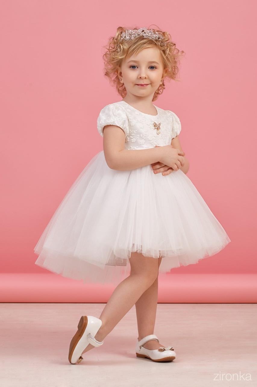 38-8006-1 Платье для девочки Белое юбка фатин размер 122,128 см