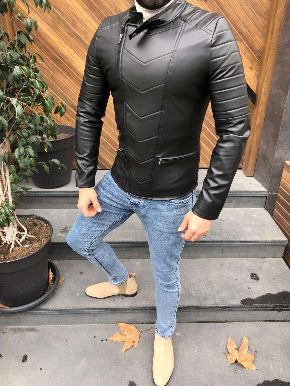 Мужская кожаная куртка/косуха Lines 5 размеров