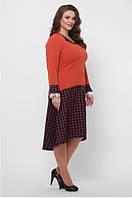 Женское платье приталенное ассиметрия большого размера 52, 54, 56, 58 р цвет оранж