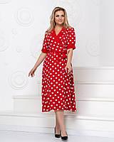 Платье батал NOBILITAS 50 - 56 красное хлопок (арт. 20019)