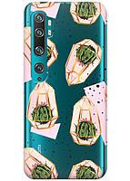 Прозрачный силиконовый чехол iSwag для Xiaomi Mi Note 10 Pro с рисунком - Кактусы в колбах H326, КОД: 1398312