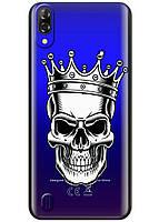 Прозрачный силиконовый чехол iSwag для Blackview A60 с рисунком - Царский череп H626, КОД: 1429091