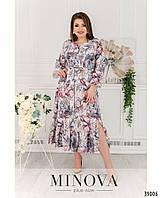 Оригинальное яркое привлекательное платье миди А-силуэта больших размеров с поясом Р-р 50-52,54-56,58-60,62-64