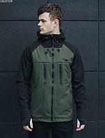 Куртка мужская с капюшоном весна-осень Staff soft shell haki & black