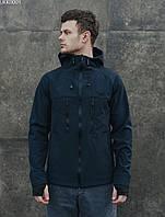 Куртка мужская с капюшоном весна-осень Staff soft shell navy
