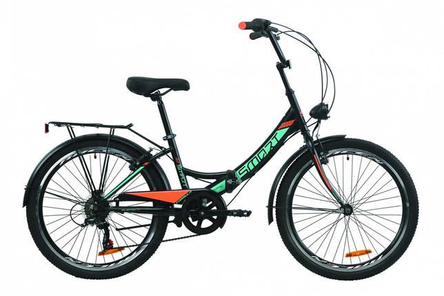 """Велосипед 24"""" Formula SMART 7 с багажником зад St, с крылом St, с фонарём 2020 (черно-фиолетовый), фото 2"""