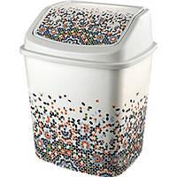 Ведро для мусора 5л кач. крышка с рисунком Мозаика ELIF
