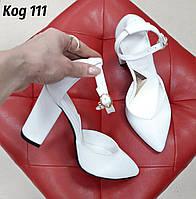 Белые Туфли с ремешком на толстом каблуке натуральная кожа (свадебные туфли)
