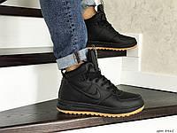 Мужские зимние кроссовки на меху Nike Lunar Force 1, натуральная кожа, черные.