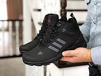 Мужские зимние кроссовки на меху  Adidas Climaproof, нубук, черные с серым.
