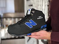 Мужские зимние кроссовки на меху  New Balance, нубук, пена, черные с синим.