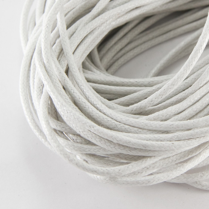 Шнур Вощеный Хлопковый, Цвет: Белый, Размер: Толщина 2мм/ Упак.: 5 м