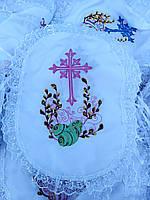 Вышитые салфетки на пасхальную корзину в разных цветах, фото 1