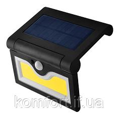 Настенный уличный светильник SH-090B-COB, 1x18650, PIR+CDS с датчиком движения, солнечная батарея