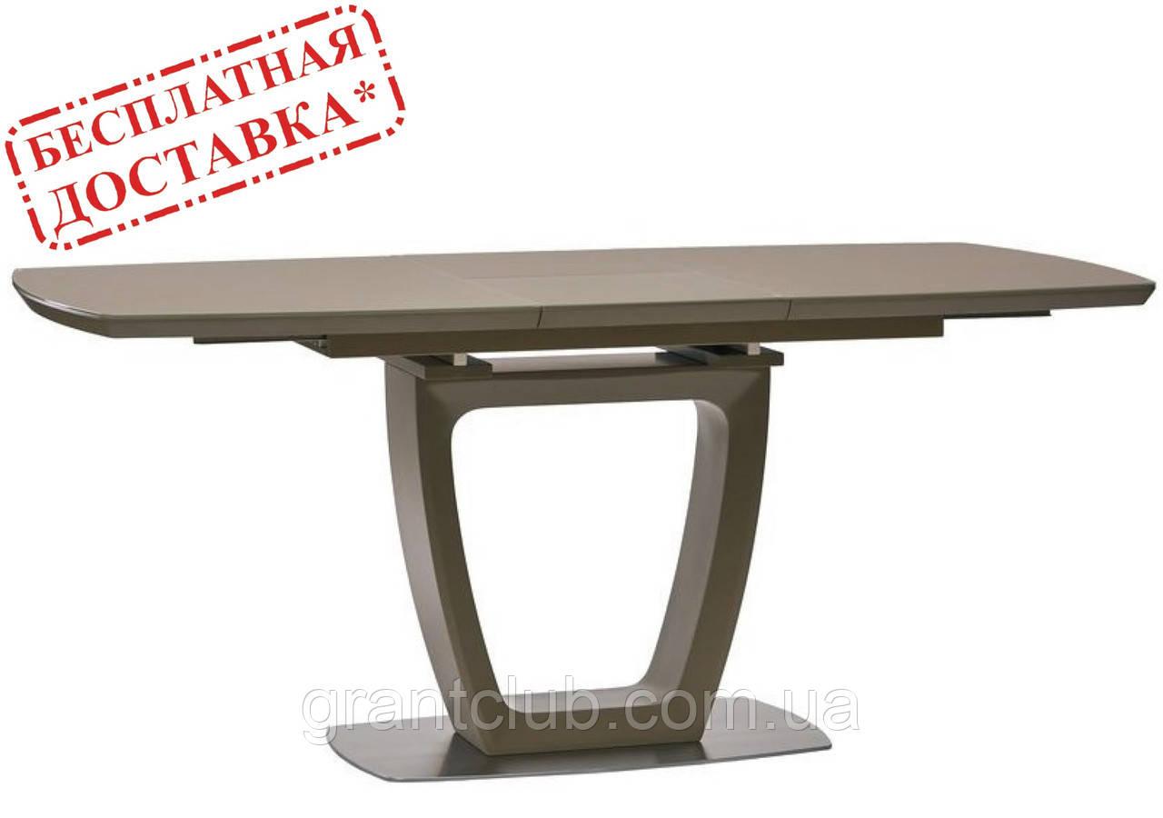 Обідній стіл RAVENNA MATT MOCCA (Равенна) 140/180х85 мокко матове скло Concepto (безкоштовна доставка)