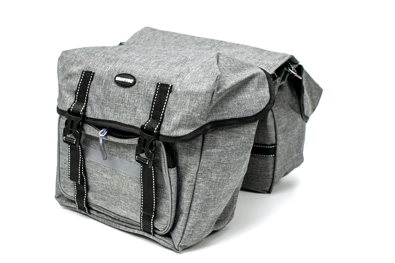 Велосумка штаны, на багажник 35x28x14cm серый BRAVVOS F-091-2, водоотталк. материал