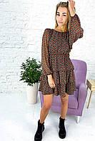 Платье с трехъярусными воланами и длинным рукавом Clew - коралловый цвет, L (есть размеры), фото 1