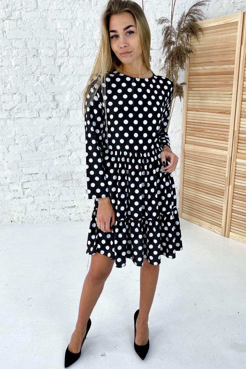 Милейшее платье в горох с акцентированной линией талии  Clew - белый с черным цвет, L (есть размеры)