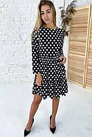 Милейшее платье в горох с акцентированной линией талии  Clew - белый с черным цвет, L (есть размеры), фото 1