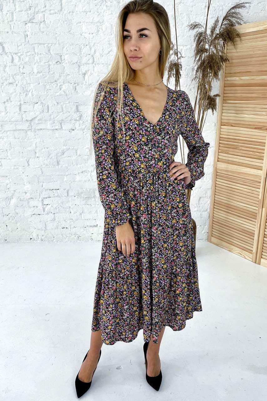 Интересное длинное платье с V-вырезом Clew - горчичный цвет, M (есть размеры)