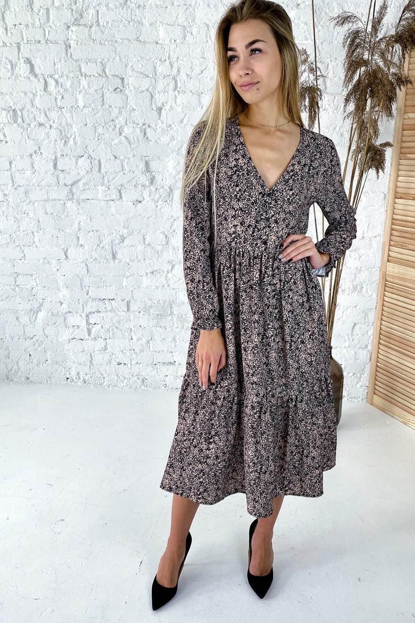 Необычное платье с необычным цветочным орнаментом Clew - кофейный цвет, L (есть размеры)