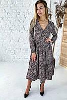 Необычное платье с необычным цветочным орнаментом Clew - кофейный цвет, L (есть размеры), фото 1