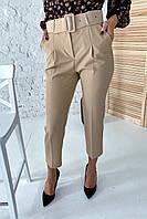 Актуальные брюки с поясом и карманами  YARE - бежевый цвет, M (есть размеры), фото 1