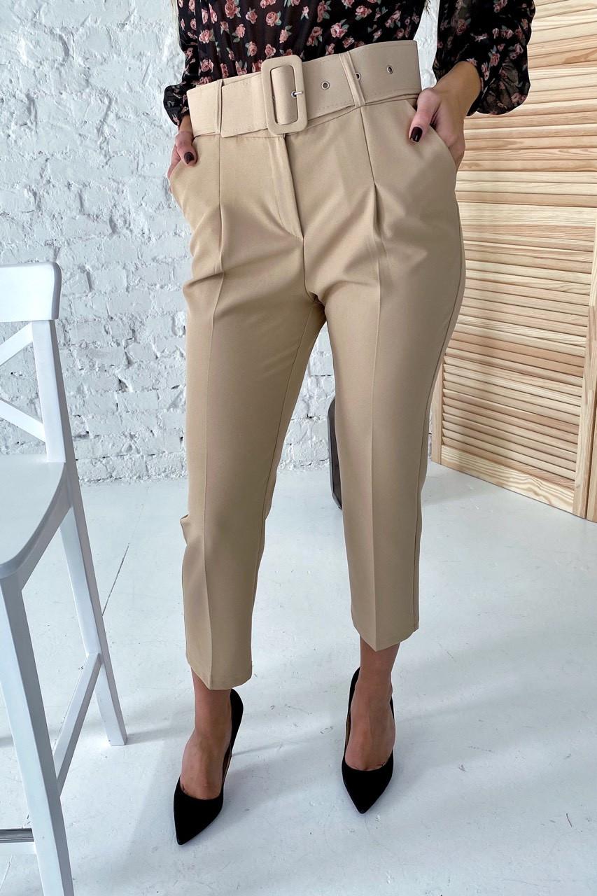 Актуальные брюки с поясом и карманами  YARE - бежевый цвет, L (есть размеры)