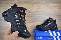 Мужские зимние кроссовки на меху  Adidas Fastr, нубук, цегейка, черные с оранжевым.