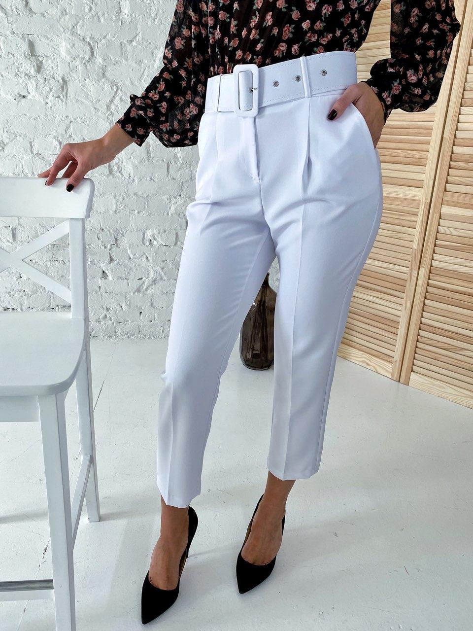 Актуальные брюки с поясом и карманами  YARE - белый цвет, S (есть размеры)