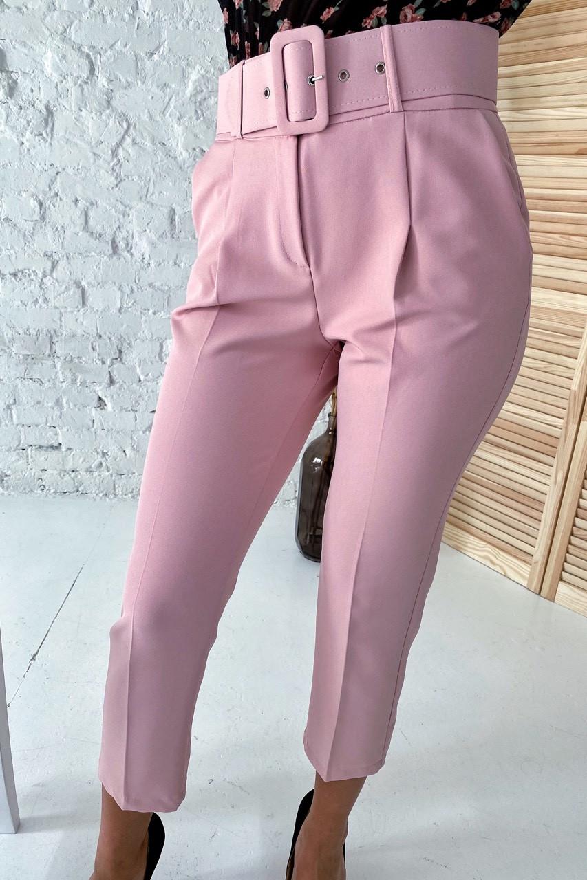Актуальные брюки с поясом и карманами  YARE - пудра цвет, S (есть размеры)